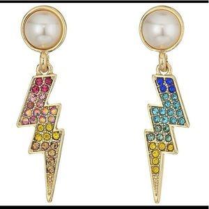 Betsey Johnson Pave/Pearl Lighting Bolt Earrings